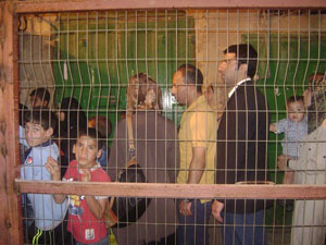 Children waiting to go through the checkpoint