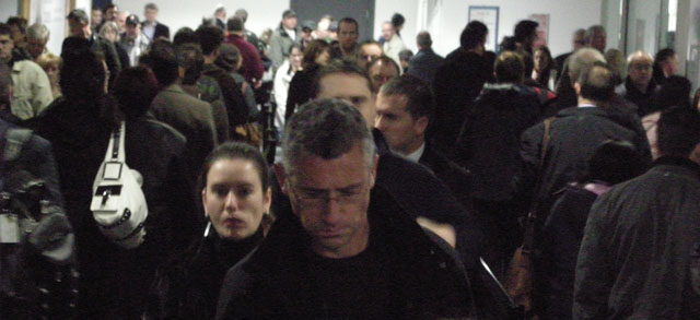 Queued like cattle in Dublin, before check-in.