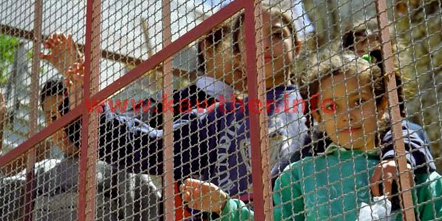 "Abu Aisha children living in a cage directly across the street from the colonial ""Ramot Yishai"" settlement in Tel Rumeida in Hebron."