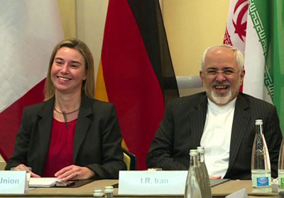 Federica Mogherini and Iranian Foreign Minister AFP