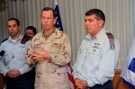 Middle: U.S. military Admiral Michael Mullen with Gabi (Gabriel) Ashkenazi during his visit to the US military base in Israel.