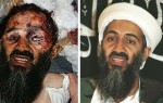 Osama bin Laden. Left a fake composite published by AP, based upon the picture right.