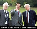 The Governor of California with two of the strongest and richest supporters of Israel, Warren Buffet and Jacob Rothschild (Pic Credit ?)