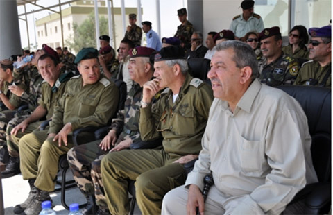 Palestinian security Generals hosting Israeli war croiminals and murderers in Ramallah military headquarter. Mizrahi sticking a hand in his mouth, thinking how he will murder the Palestinian officers in excercizes.